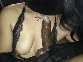 Black And Ebony Big Cock Bbc video: Blindfolded slut gives bbc sloppy blowjob