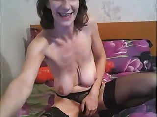 Horny saggy tits lady