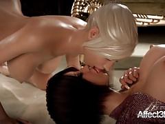 Geile Blondine und ihre große Titten-Freundin, die futa Sex genießt