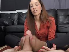 Nice pantyhose footjob