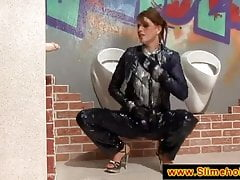 Naughty brunette visits the glory hole