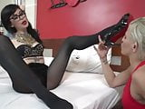 Lesbian submission with smoking & feet fetish