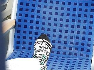 Voyeur Softcore Foot Fetish video: Nice socks on train