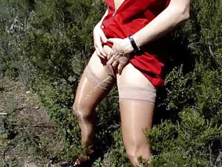 Grannies Outdoor Wife video: red dress p