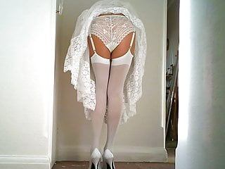 Stockings Lingerie Softcore video: White lace Slip And Panties with White Stockings