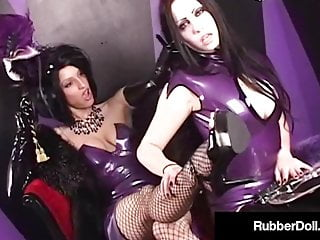 Spanking Latex Pornstar video: Mysterious Latex Babe RubberDoll Spanks Succubus Until Red!