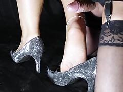 Piede del movimento lento e nylon erotico
