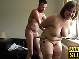 Chubby submissive British woman has a rough fuck session
