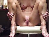 Wife orgasming on a chair on me