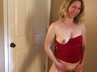 Hairy Small Tits Striptease video: MILF in Red Dress Fucked (POV)