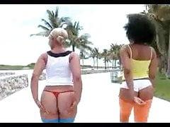 Czarne dupeczki dokuczają na plaży