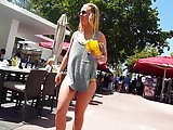 Candid voyeur gray shirt over yellow bikini