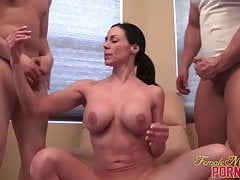 Female Muscle Porn Star Takes on Two Guys