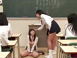 Asian Teacher Bows Before Schoolgirls