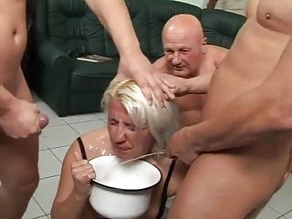 Gangbang Facial Milf video: dirty used blonde piss babe