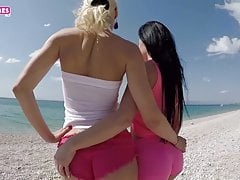 Summer wet beach orgasm