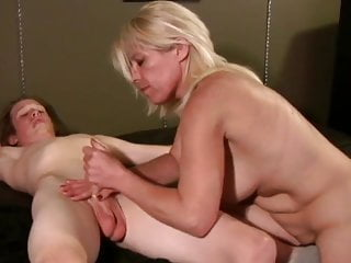 Blonde Blowjob Big Tits video: Blond stepmom Milf seduces her son