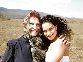 Lesbian Mature xxx: 71YO granny Stefana fucks 22YO girl