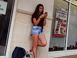 Candid voyeur incredible teen in shorts waiting so hot
