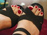 Sexy Black Heels and Cute Red Toenails