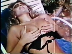 70s retro Blonde by the pool