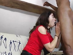 Mature French mom goes black