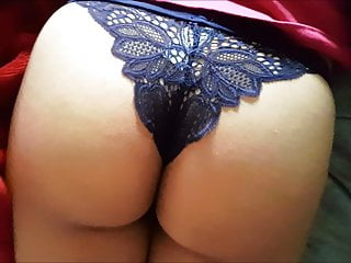 Beautiful Mexican Buttocks In Blue Thong