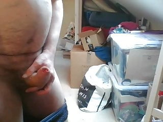 Mature guy with long foreskin spunks