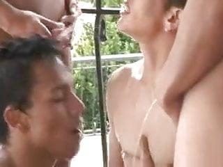 Gay Group Sex Poolside