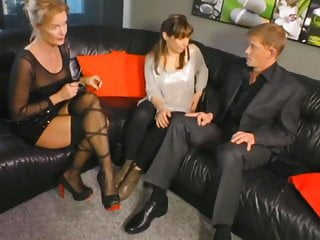 Shameless sexy mom Watching  Younger Couple Fuck on Sofa
