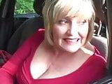 Big tits Granny gives road head oudoors in car meet