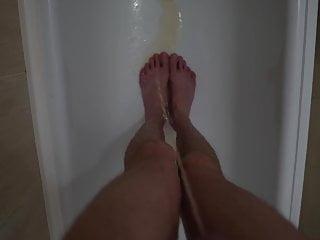 boy morning pee in the bathroom urination