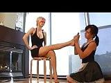 mistress use lesbian feet slave
