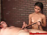 Petite ebony masseuse uses rope during hj