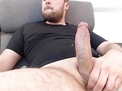 Beard daddy jerks off big cock and cumshots big loads