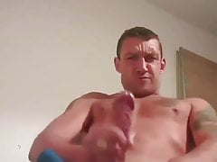 fit scally guy in blue shorts wanks and cums