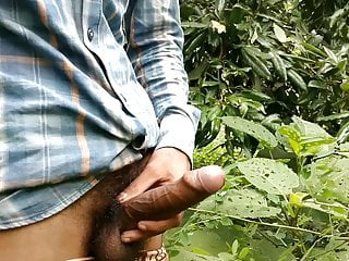 Most Big dick handjob in forest and cumshot on plants