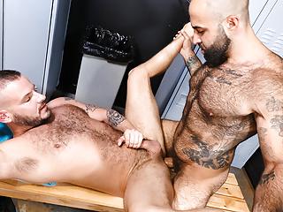 Hairy Gym Guys Fuck In The Locker Room