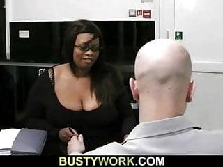 Busty ebony plumper dick...