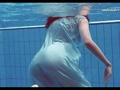 Big natural tits teen Piyavka Chehova swimming naked