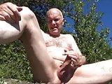 Pervert grandpa outdoor - wank and suck stranger...