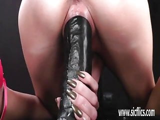 Fisting and fucking hot milf with a giant dildo