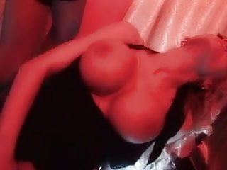 British blonde slut in a FFM threesome on the stage