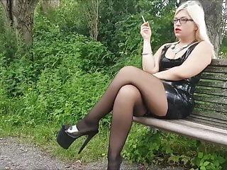 mariella outdoor smoking in latex  stockings  and heelsPorn Videos