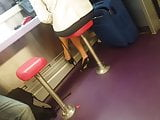 Stolen vid in the train with legs and high heels