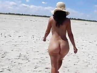 Pretty booty wife naked beach...