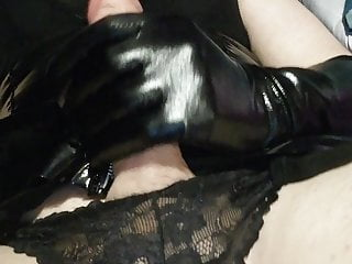 Sissy latex cumming with lube xx...