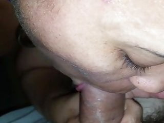 Sub plays with her cunt and sucks cock...