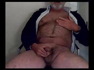 Hairy grandpa unloads his hairy...