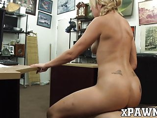 Seductive blonde blows pawnbroker and gets hardcore fucked